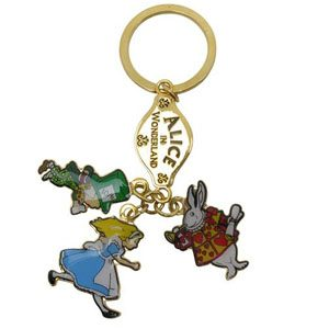 Alice in Wonderland 3 Charm Keyring